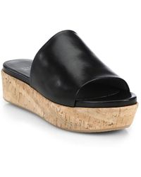 Stuart Weitzman - Flat-out Leather & Cork Flatform Slides - Lyst