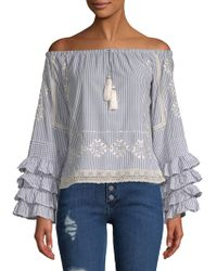 Love Sam - Ruffle-sleeve Striped Off-the-shoulder Top - Lyst