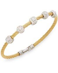 Alor - Diamond, 18k Yellow Gold & Steel Coil Bracelet - Lyst