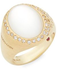 Roberto Coin - Mother-of-pearl, Diamond, Crystal And 18k Gold Satin Doublet Ring - Lyst
