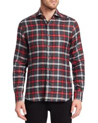 Saks Fifth Avenue Collection Linen Check Shirt