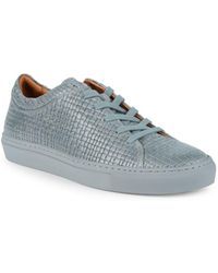 Aquatalia - Alaric Striped Embossed Leather Sneakers - Lyst