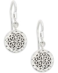 Lois Hill - Classic Sterling Silver Embossed Circle Drop Earrings - Lyst
