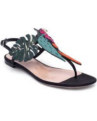 Valentino - Tropical Dream Leather & Suede Thong Sandals - Lyst