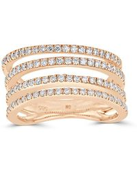 Saks Fifth Avenue - Diamond And 14k Rose Gold Four-row Ring - Lyst