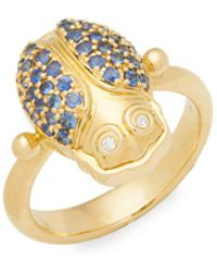 Temple St. Clair - Diamond, Crystal And 18k Yellow Gold Scarab Ring - Lyst