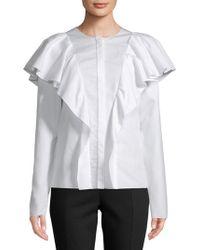 Lanvin - Haut Ruffled Cotton Top - Lyst