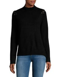 Saks Fifth Avenue - Eyelet Mockneck Sweater - Lyst