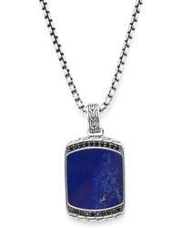 John Hardy - Black Sapphire, Lapis Lazuli & Silver Dog Tag Pendant Necklace - Lyst