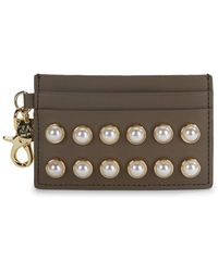 Zac Zac Posen - Stud Embellished Leather Card Case - Lyst