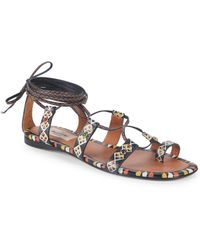 bb905fd667a2 Valentino - Geometric Leather Toe Ring Sandals - Lyst