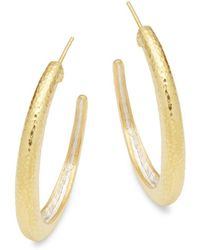 Gurhan - Goldtone Silver Hoop Earrings - Lyst