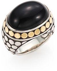 John Hardy - Batu Dot Onyx, 18k Yellow Gold & Sterling Silver Dome Ring - Lyst