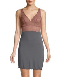 Samantha Chang Built Up Lace Chemise - Gray