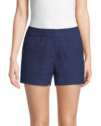 Laundry by Shelli Segal - Eyelet Cotton Shorts - Lyst