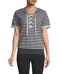 Marc New York - Striped Lace-up Hooded Sweatshirt - Lyst
