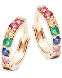 Danni - Multicolored Sapphire, Diamond And 14k Yellow Gold Huggie Earrings - Lyst