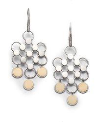 John Hardy - Dot 18k Yellow Gold & Sterling Silver Diagonal Square Drop Earrings - Lyst