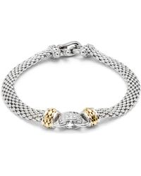 Effy - Sterling Silver, 14k Yellow Gold & Diamond Bracelet - Lyst