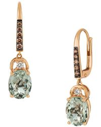 Le Vian - Chocolatier Mint Julep Quartz & Strawberry Gold Drop Earrings - Lyst