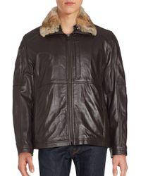 Marc New York - Leather Rabbit Fur Collar Jacket - Lyst