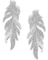 Adriana Orsini - Mday Pavé Leaf Earrings - Lyst