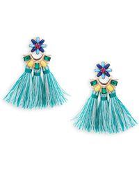 Natasha Couture - Crystal Floral Tassel Earrings - Lyst