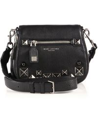 Marc By Marc Jacobs - Recruit Small Chipped Studs Leather Saddle Crossbody Bag - Lyst