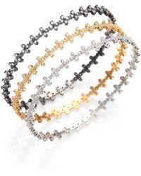 Freida Rothman - Embellished Floral Stack Bangle Bracelet Set - Lyst