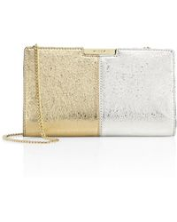 MILLY - Two-tone Metallic Leather Small Frame Clutch - Lyst