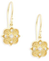 Amrapali - Heritage 18k Yellow Gold & Diamond Mosaic Drop Earrings - Lyst