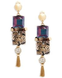 Nocturne - Crystal Long Drop Earrings - Lyst