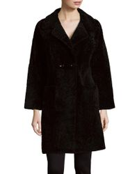Annabelle New York - Betty Shearling Double-breasted Coat - Lyst