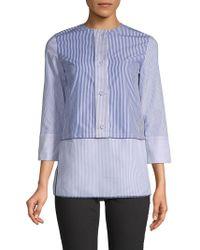 Piazza Sempione - Pinstripe Cotton & Silk Top - Lyst