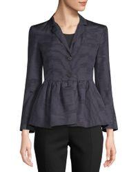 Rosie Assoulin - Peplum Hem Silk And Wool Blend Moire Jacket - Lyst