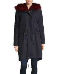 Pure Navy - Fox Fur-trimmed Cotton Down Parka - Lyst