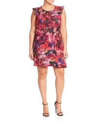 ABS By Allen Schwartz - Plus Floral Printed Dress - Lyst