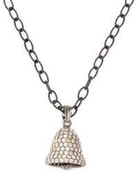 Arthur Marder Fine Jewelry - Silver & Champagne Diamond Bell Pendant Necklace - Lyst