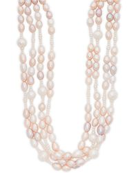 """Belpearl - 7-8mm Multi-color Round & Oval Freshwater Pearl Four Strand Collar Necklace/20"""" - Lyst"""