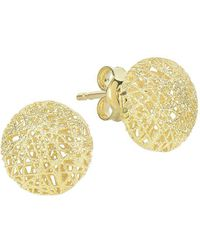 Saks Fifth Avenue - 14k Yellow Gold Textured Round Earrings - Lyst
