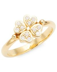 Temple St. Clair - Celestial 18k Yellow Gold & Diamond Mini Clover Cocktail Ring - Lyst