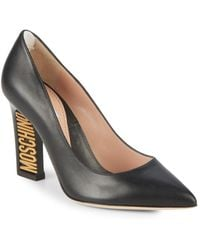 Moschino - Logo Heel Leather Court Shoes - Lyst