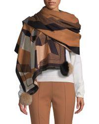 La Fiorentina - Fox Fur Pom-pom Print Wrap Scarf - Lyst