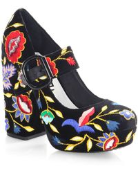 Alice + Olivia - Houston Embroidered Velvet Mary Jane Platform Court Shoes - Lyst