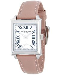 Bruno Magli - Silvertone Stainless Steel And Leather Strap Watch - Lyst