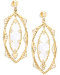 Freida Rothman - Crystal And Mother-of-pearl Textured Drop Earrings - Lyst