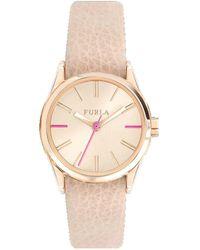 Furla - Eva Rose Gold Dial Calfskin Leather Watch - Lyst
