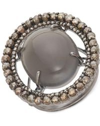 Bavna - Grey Moonstone & Diamond Cocktail Ring - Lyst