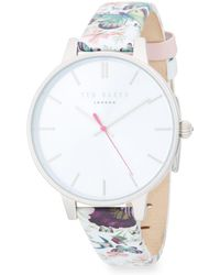 Ted Baker - Printed Stainless Steel & Leather-strap Watch - Lyst