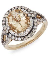 Le Vian - Papaya Morganitetm And Chocolate & Vanilla Diamondstm 14k Honey Goldtm Pendant Ring - Lyst